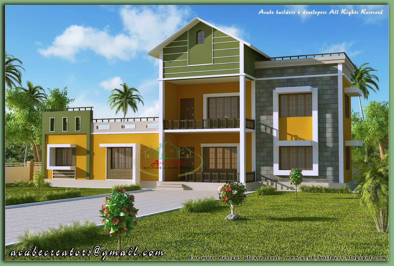 2 storey sloping roof house 1700 sq ft plan 124 - Model house design with floor plan ...
