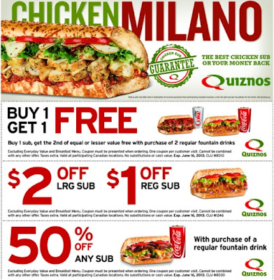 Quiznos coupon - buy one sub, get sub free with purchase of regular fountain drink.