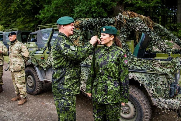 "Crown Princess Mary of Denmark attended the Danish Home Guard's field exercise of ""Svend Gønge"" in Vordingborg Barracks in Vordingborg"