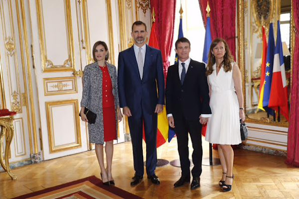 King Felipe VI and Queen Letizia of Spain attended a Lunch hosted by french Prime Minister Manuel Valls at the Hotel Matignon