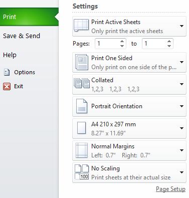 Ms Excel 2010 Print Dialogue Box