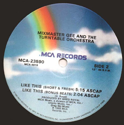 Mixmaster Gee And The Turntable Orchestra – Like This (1985, VLS, 192)