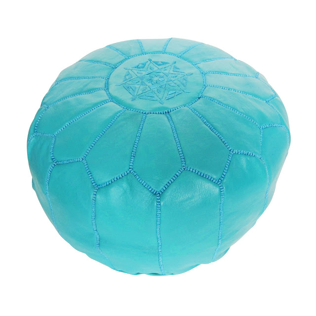 Turquoise Leather Moroccan Pouf