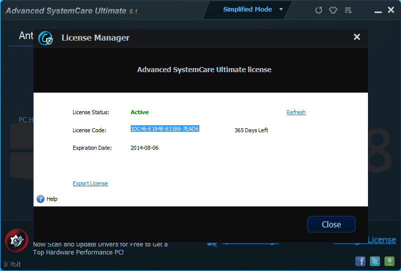 Update Advanced SystemCare Ultimate 6.1 365 Days Left (7 Agustus 2013)