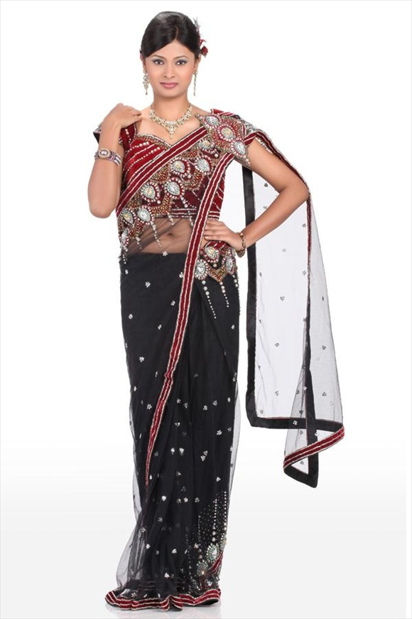 deasi Black Net Saree