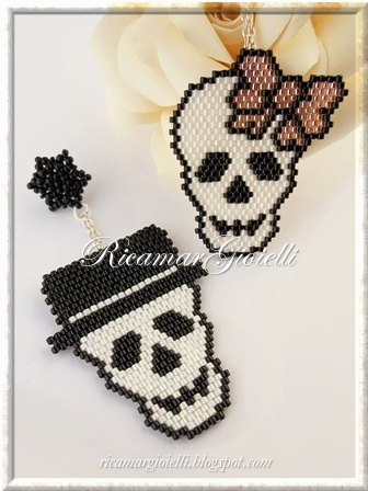 Mr. & Mrs. Skull teschi in brick stitch e peyote