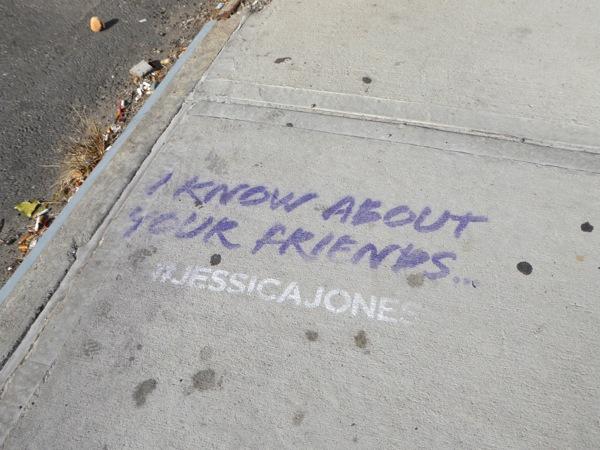 Jessica Jones series sidewalk graffiti teaser NYC