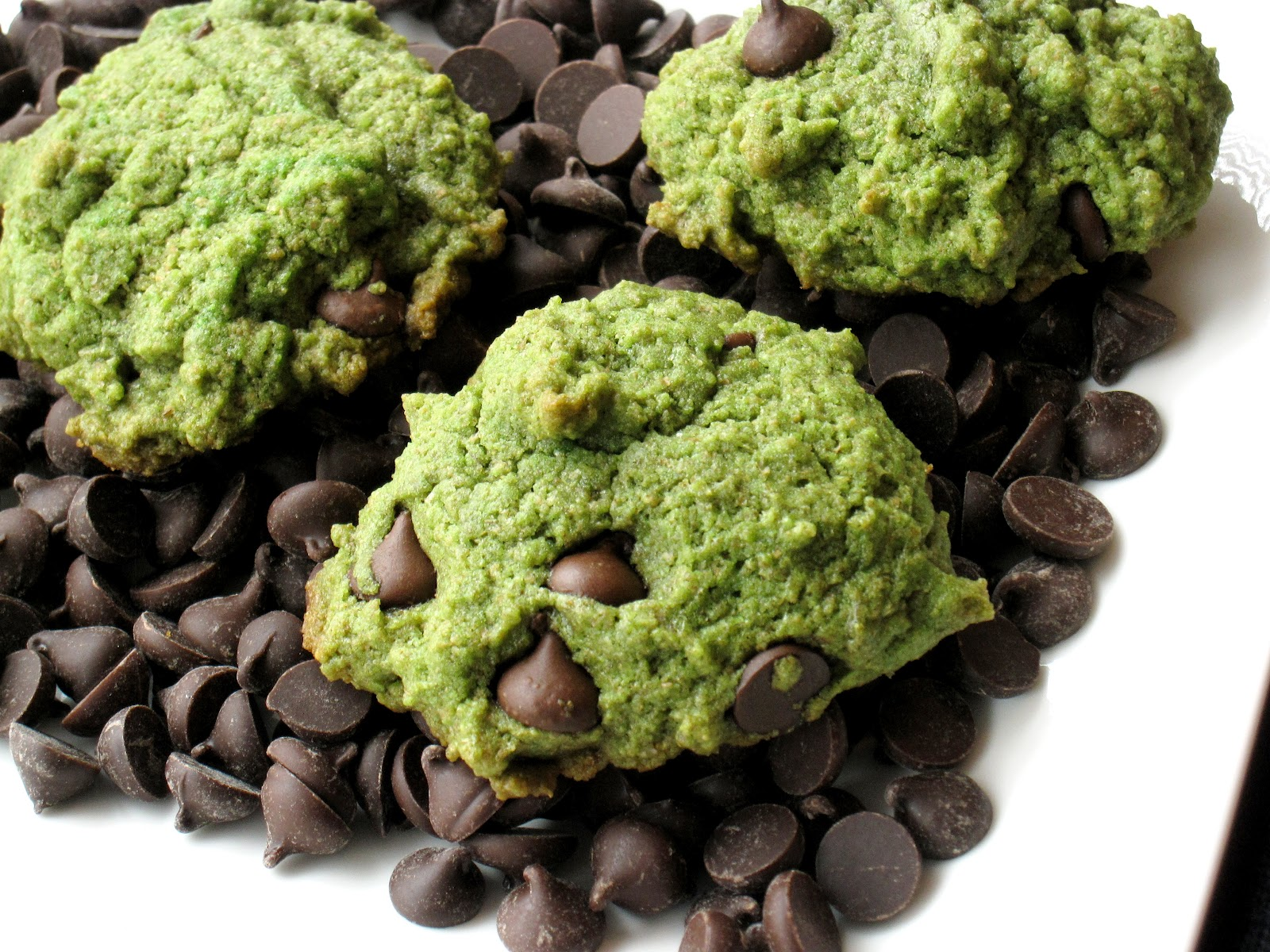 Green Mint Chocolate Chip Cookies - She Bakes Here