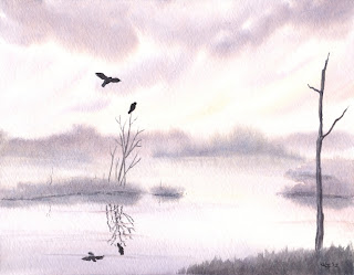 watercolor lake painting, watercolor landscape painting, watercolor art, watercolor fine art, misty lake painting, misty morning painting, watercolor nature art,