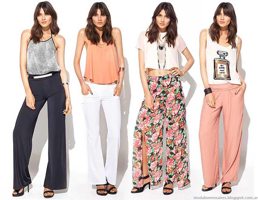 Temporada primavera verano 2015 pantalones, blusas, tops y remeras de moda 2015 MAB.