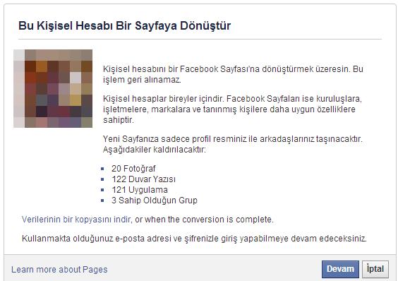 Facebook Hesabını Facebook Sayfasına Dönüştürmek