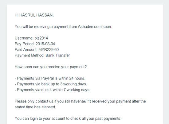 Pembayaran Komisen Affiliate ke 17 Ashadee