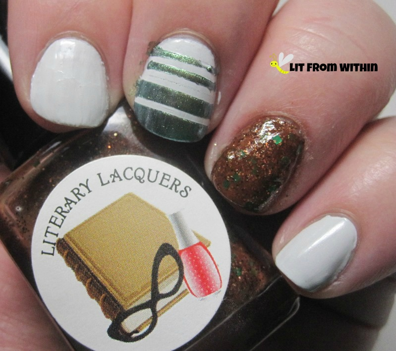 For the tape mani, PeriPera P027, a metallic greenish-golden-blue.  For the glitter accent, Literary Lacquers An Honest Puck,