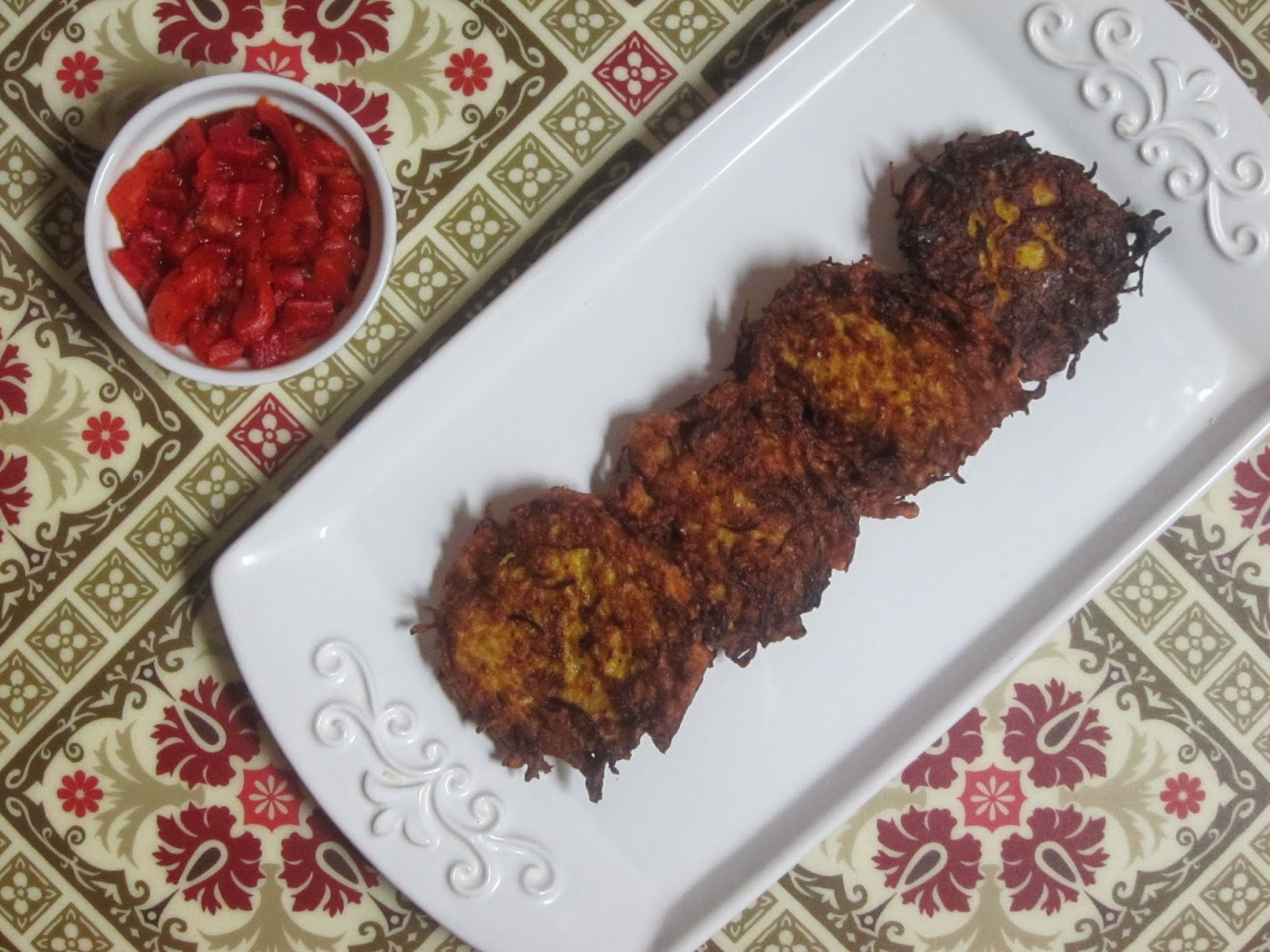 Spicy Spaghetti Squash Fritters with Red Pepper Chutney | The Economical Eater