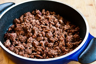 Saute one pound of lean ground beef until it's completely cooked and ...