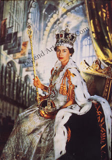 Her Majesty Queen Elizabeth II wearing the imperial State Crown and holding the Sovereign's Sceptre with Cross and the Sovereign's Orb. Photographed by Cecil Beaton on the day of her coronation. 2nd June 1953