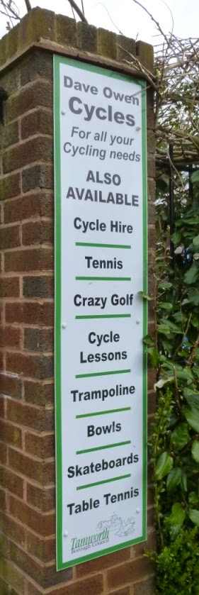 Dave Owen Cycles in Tamworth's Castle Grounds provides cycle hire, tennis, crazy golf, cycling lessons, trampolines, bowls, skateboards and table tennis