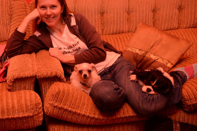 sitting on the couch with dogs.