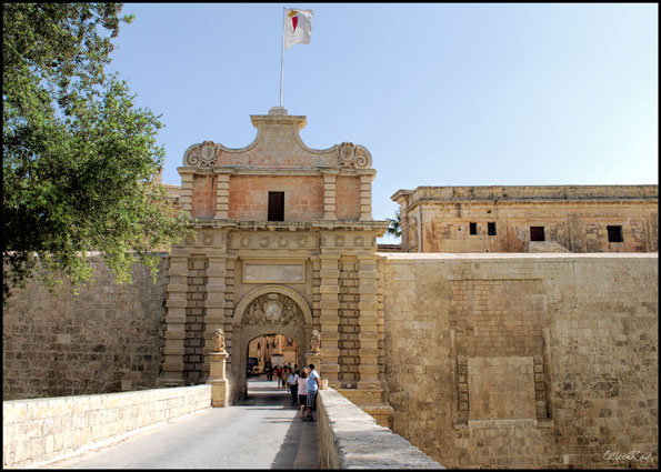 Entrance to walled city of Mdina, known as the Silent City, Malta