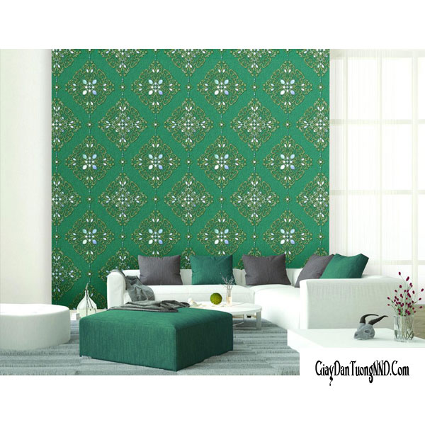 giấy dán tường phòng khách màu xanh theo mệnh