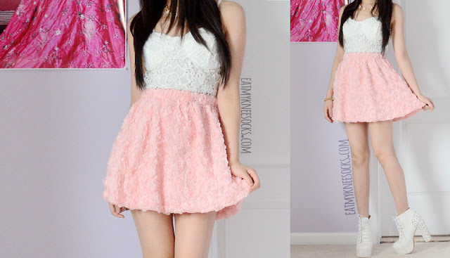 Full photos of this ulzzang-inspired summer date outfit, featuring a pastel pink rose Romwe skirt, a white lace bustier, a studded bracelet, and a golden floral necklace.