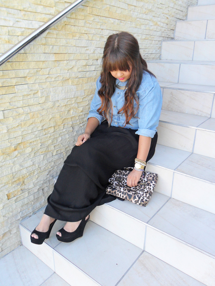 black maxi skirt with denim shirt