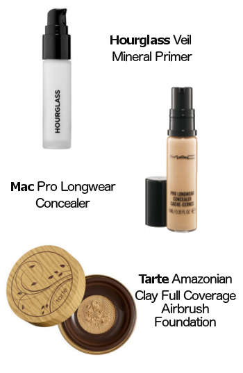 Hourglass Veil Mineral Primer, Mac Pro Longwear Concealer, Tarte Amazonian Clay Full Coverage Air Brush Foundation
