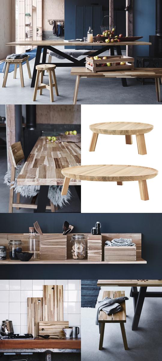 IKEAs höstnyhet 2015 - Skogsta bord, bänk, stol, skärbräda, hylla, serveringsfat | www.var-dags-rum.se