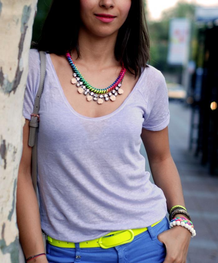 zara tişört,neon kemer, neon modası, arm party, renkli kolyeler,aksesuarlar