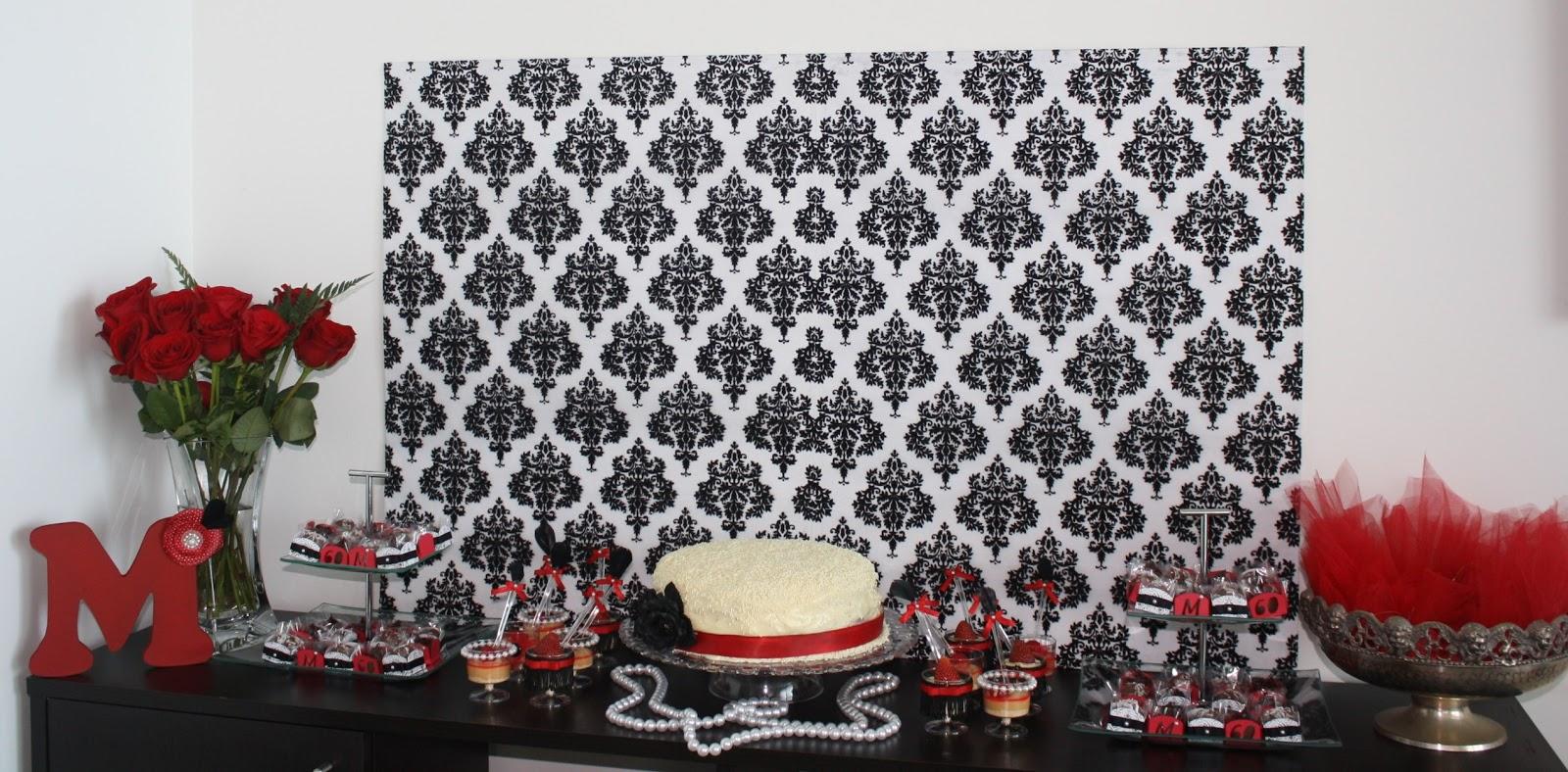 Acuarela fiesta rojo y negro 60 a os festa vermelho e for Decoracion fiesta anos 60