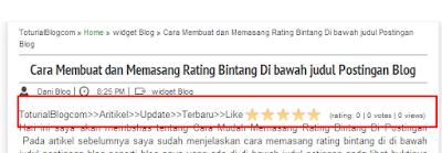 Cara Membuat dan Memasang Rating Bintang Di bawah judul Postingan Blog