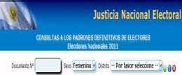Elecciones 2011: donde votar, Padrón Electoral Elecciones Nacionales 23 de octubre 2011