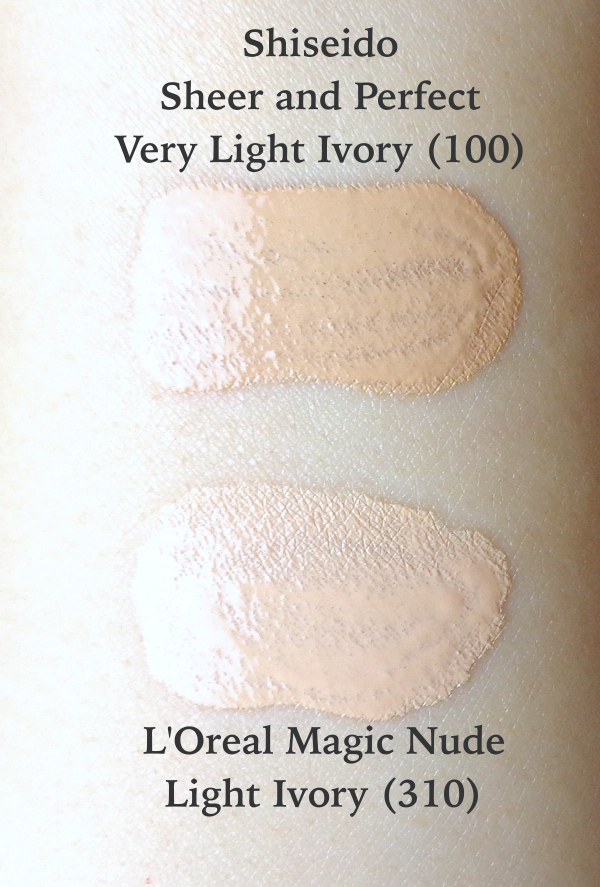 Shiseido Sheer and Perfect Foundation Very Light Ivory swatch comparison