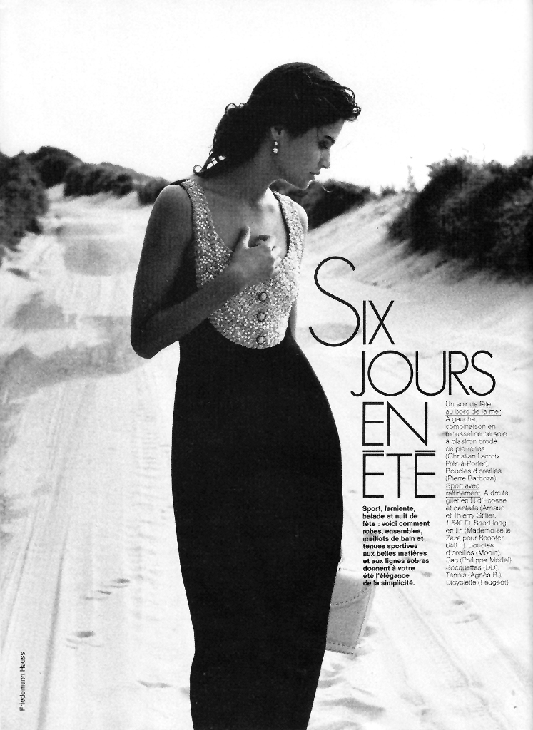 Helena Christensen in Six jours en été editorial, Elle France July 1989 (photography: Friedemann Hauss, styling: Beatrice Amagat)