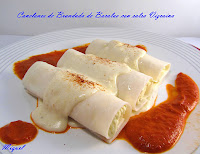 Canelones de brandada de bacalao con salsa vizcaina