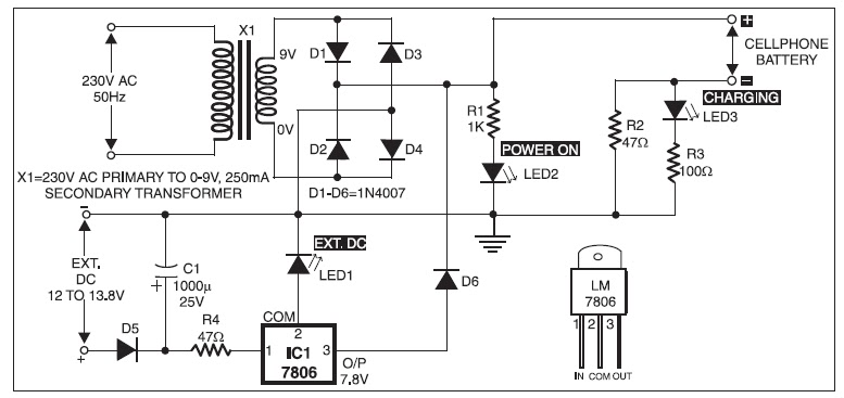 Mobile phone charger circuit diagram project basic electronics mobile phone chargers available in the market are quite expensive the circuit presented here comes as a low cost alternative to charge mobile ccuart Gallery