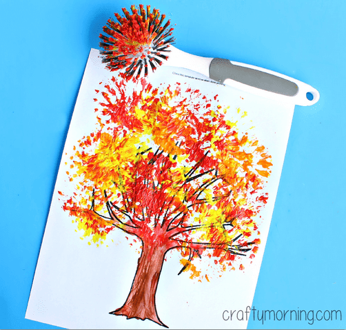 fall tree using scrub brush for beautiful texture originally from Crafty Morning