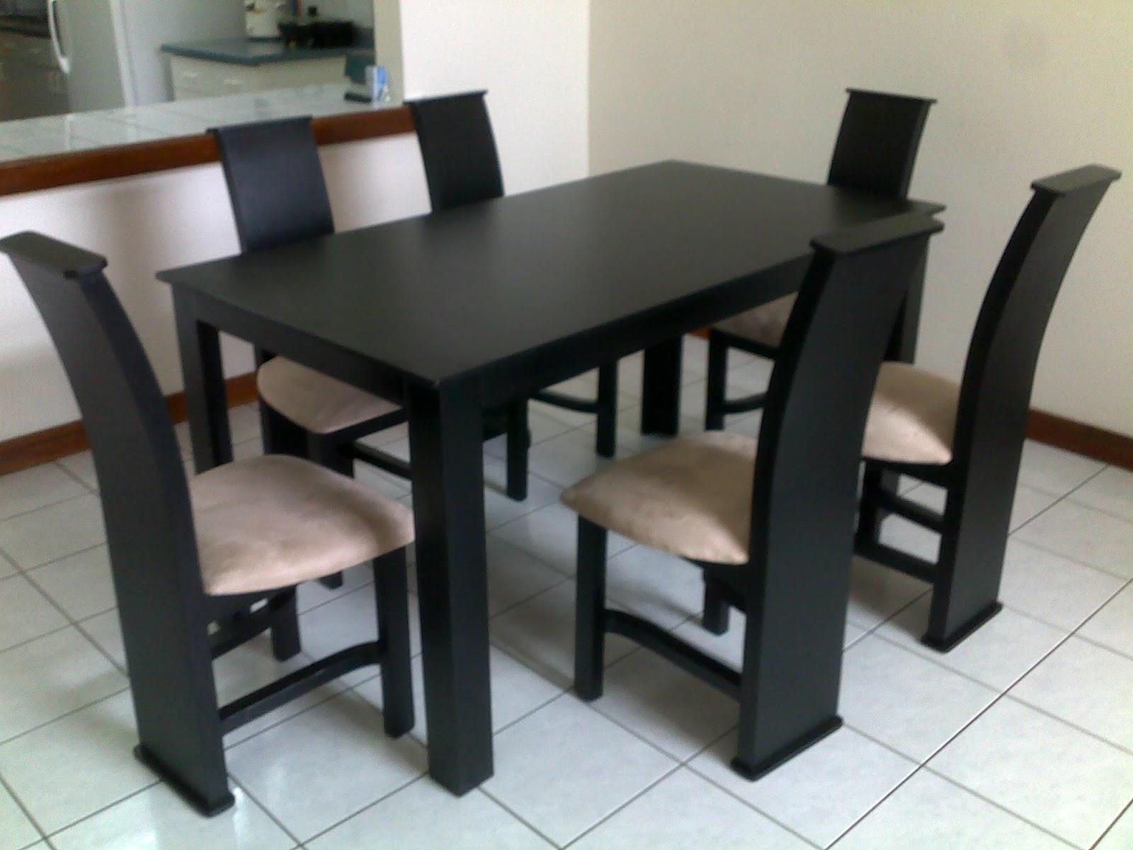 Muebles figo comedor seis sillas negro madera de pino chileno for Comedor seis sillas