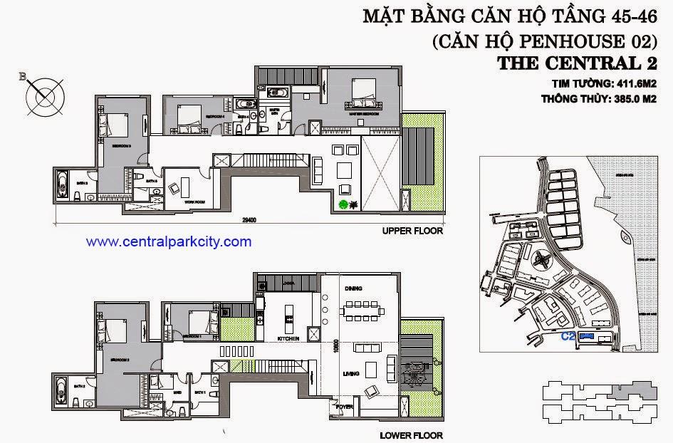 Vinhomes Central Park Penthouse - Căn số 02 tầng 45-46 - 4PN - 411.6m2