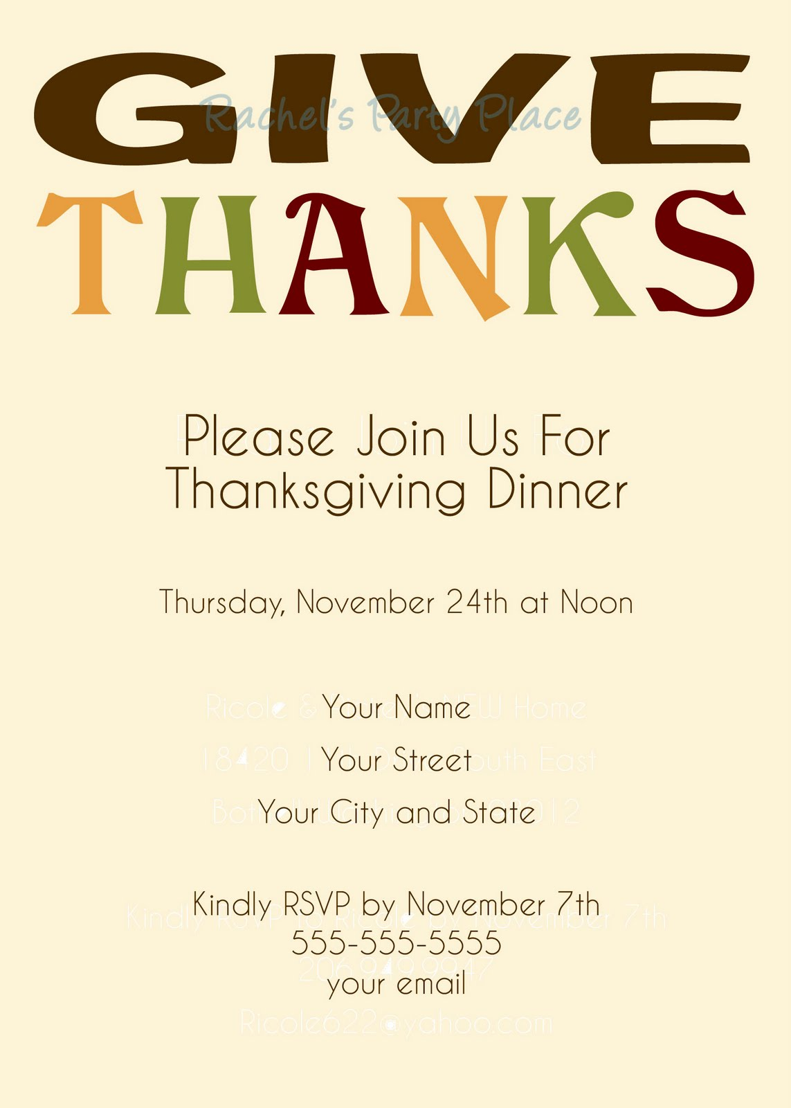 Rachels Party Place Thanksgiving Dinner Invitations - Thanksgiving party invitation templates