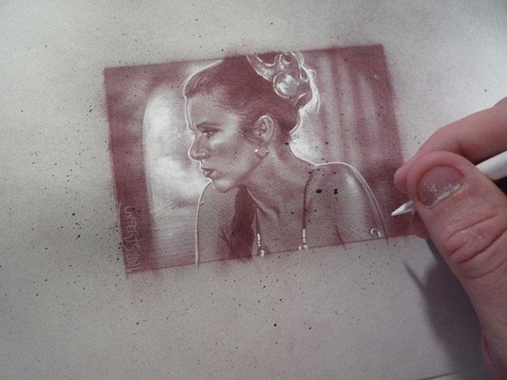 Princess leia sketch card by Jeff Lafferty