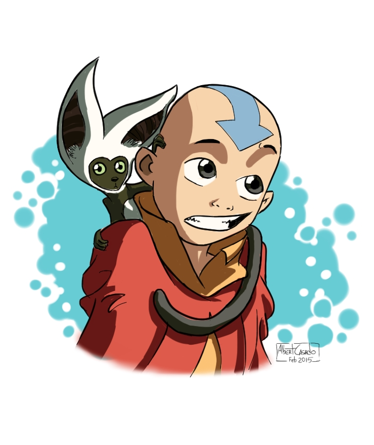 'Aang and Momo' - digital fan art - Albert Casado