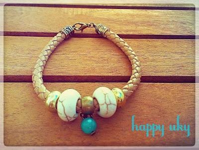 pulseras  bracelets happy uky cuero beige dorado azul turquesa