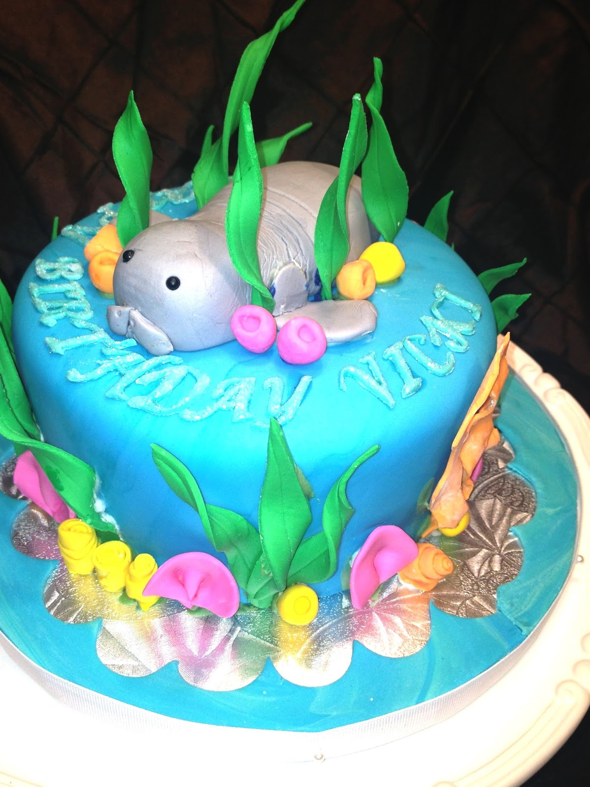 Birthday Cake Images With Name Vicky : Nancily s Cupcake Shack: Manatee Birthday Cake for Vicki