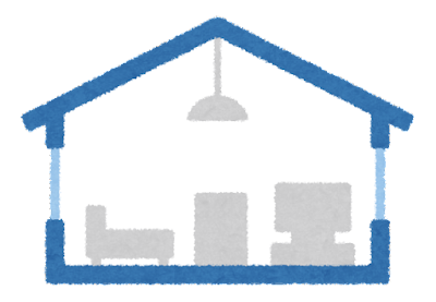 一階建ての家の断面図