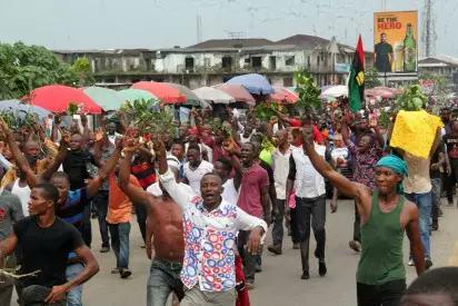 Protests over Nnamdi Kanu arrest in port harcourt