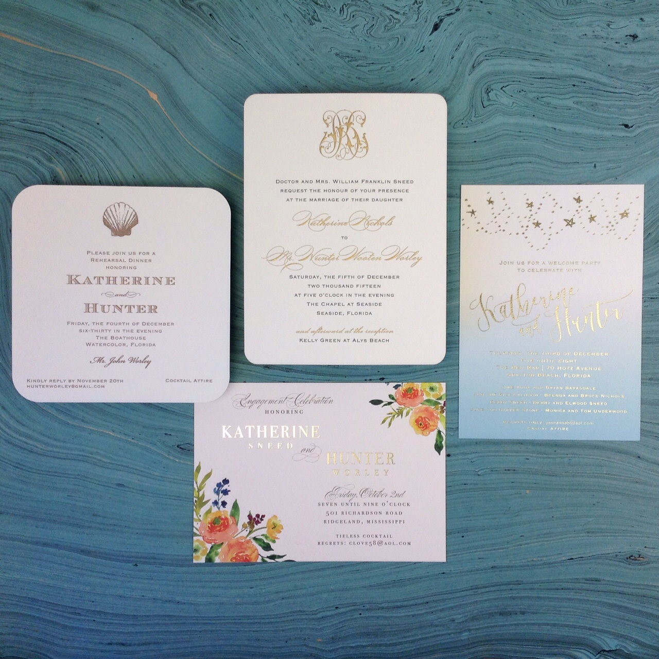 Katherine Sneed and Hunter Worley Wedding Invitations | Fresh Ink ...