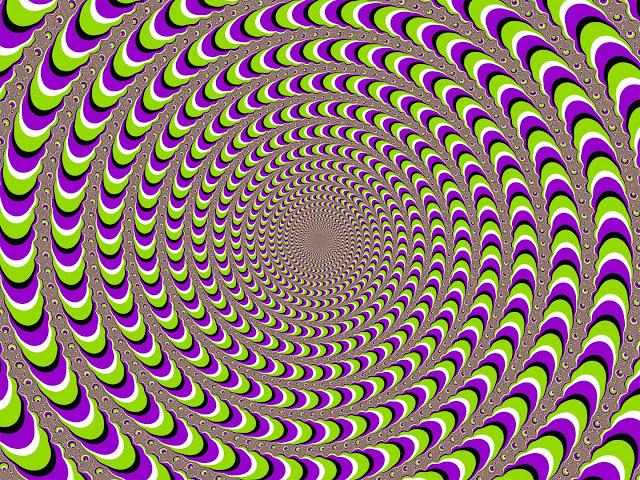 dönen renkli spiral tünel göz yanılması