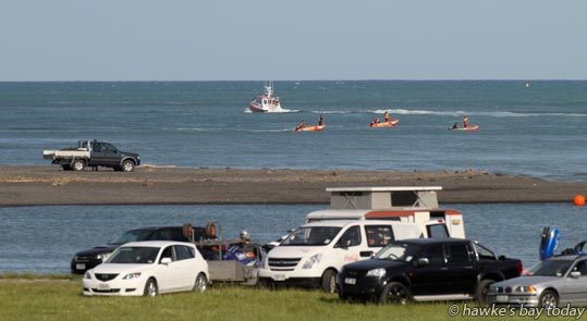 Hawke's Bay Coastguard, Fire Service, police, a motorboat, and IRBs (inflatable rescue boats normally operated by surf life saving clubs) searched for a missing 16 year-old male international student who had been swimming in the Waitangi Lagoon at the mouth of the Ngaruroro River, Awatoto, Napier. photograph