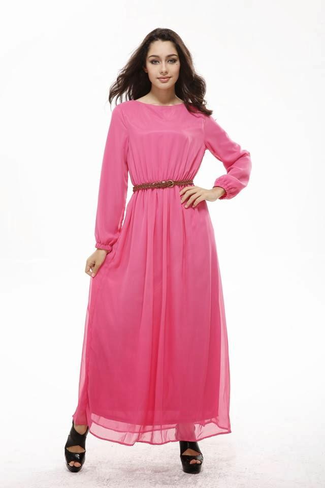 Model fashion dress warna pink